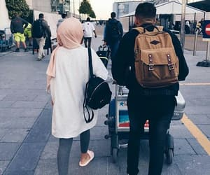 hijab, couple, and fashion image