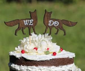 cake, cake decoration, and rustic wedding image