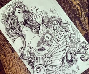 art, pencil, and tattoo image
