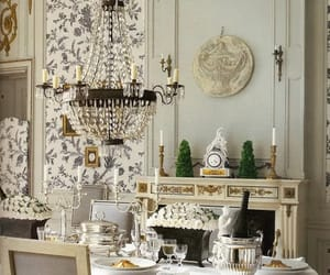 dining room, crystal chandelier, and romantic image
