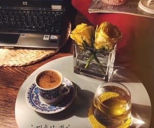 black coffee, coffee, and flower image