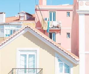 pink, balcony, and blue image