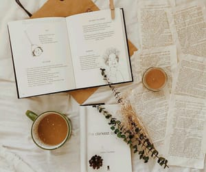 books, candle, and coffee image