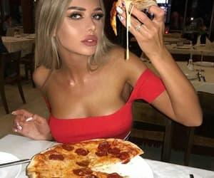girl, fashion, and pizza image