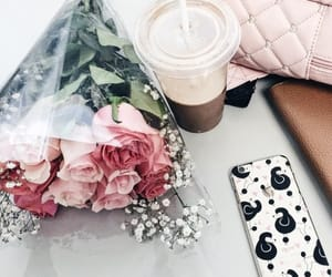 flowers, rose, and coffee image