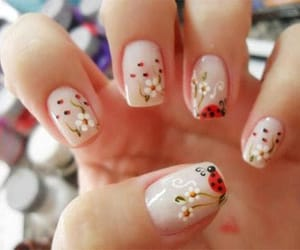 nails, flowers, and ladybug image