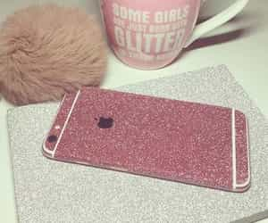 pink, iphone, and glitter image