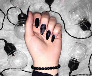 nails, blacknails, and longnails image