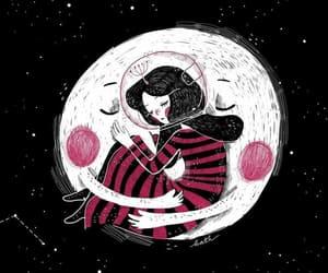 art, girl, and moon image