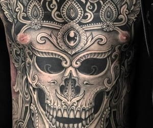 art, skull, and skull tattoo image