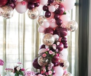 balloons, burgundy, and decorations image