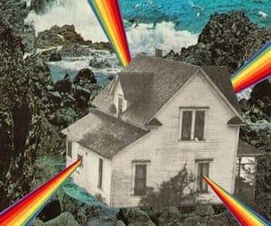 rainbow, house, and art image