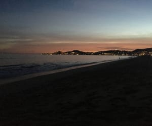 beach, mexico, and sunset image