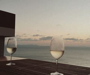 wine, drink, and sunset image