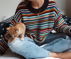 fashion, girl, and cat image