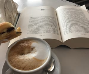 book, breakfast, and cappuccino image