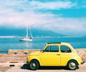 car, sea, and yellow image