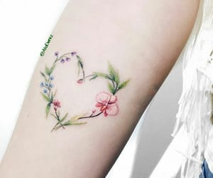 tattoo, heart, and floral image