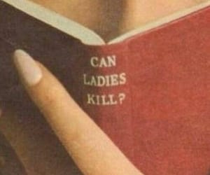 book, lady, and red image