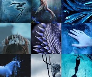 blue, dragon, and mermaid image