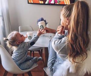 baby, mom, and starbucks image