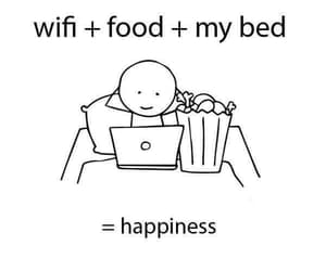 food, happiness, and bed image