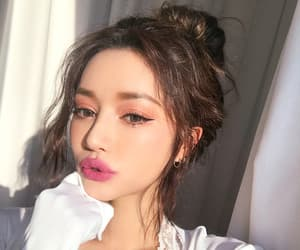 fashion, korean girl, and lipstick image
