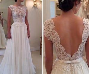 wedding ideas, deep v back bridal dress, and boat neck wedding dress image