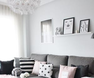 apartment, living room, and grey sofa image