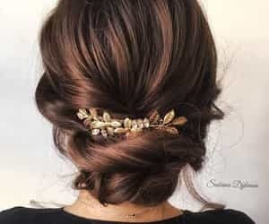 brunette, bun, and hair image