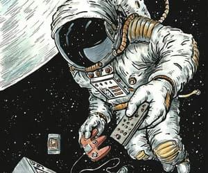 astronaut, illustration, and black image