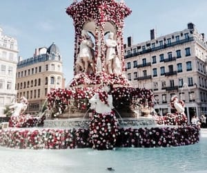 flowers, travel, and fountain image
