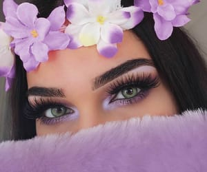 makeup, flowers, and purple image