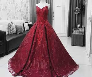 dress, elegance, and red image