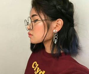 glasses, hairstyle, and makeup image