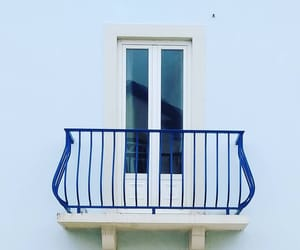 balcony, blue, and doors image