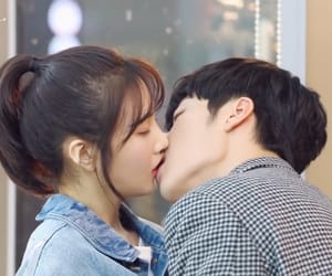 couple, joy, and kiss image