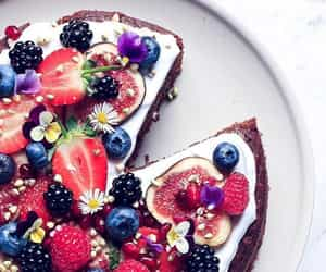 blackberries, blueberries, and cake image