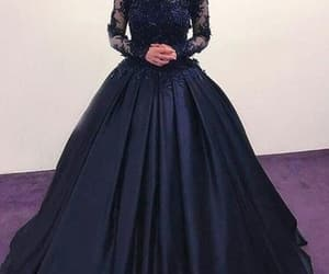 ball gown, prom dress, and navy dress image