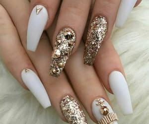 nails, white, and glitter image