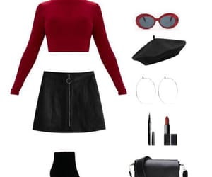 black, earrings, and outfit image