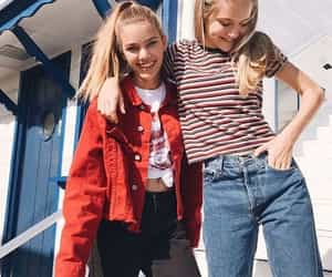 blonde, denim, and red image