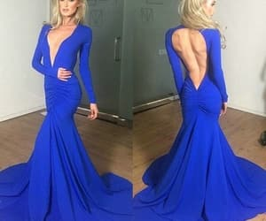 prom dress, long sleeves prom dress, and blue prom dress image