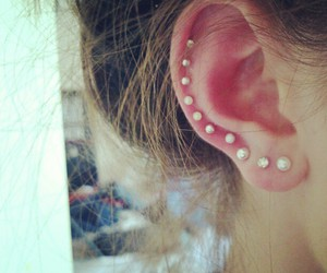 ear, piercing, and pearls image