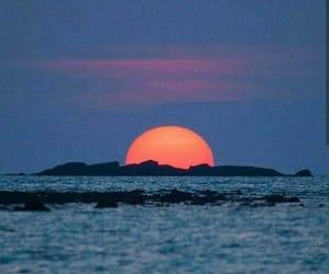 sunset, Island, and sea image