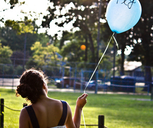 balloons, hair, and light image