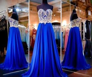 prom dress, royal blue dress, and evening dress image