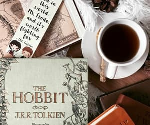 books, coffee, and frodo image