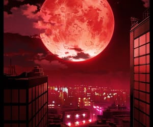 moon, red, and anime image