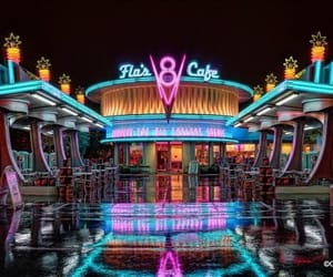 cafe, cars, and disney image